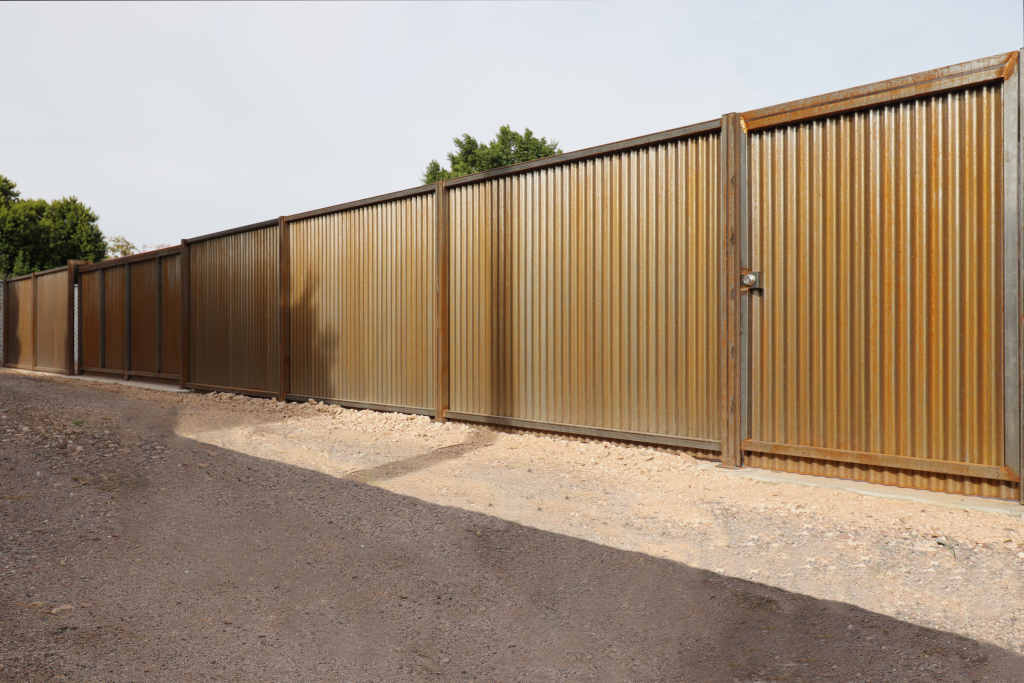 rusted corrugated fence in scottsdale