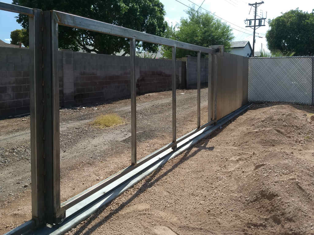 corrugated rusted steel fence in scottsdale