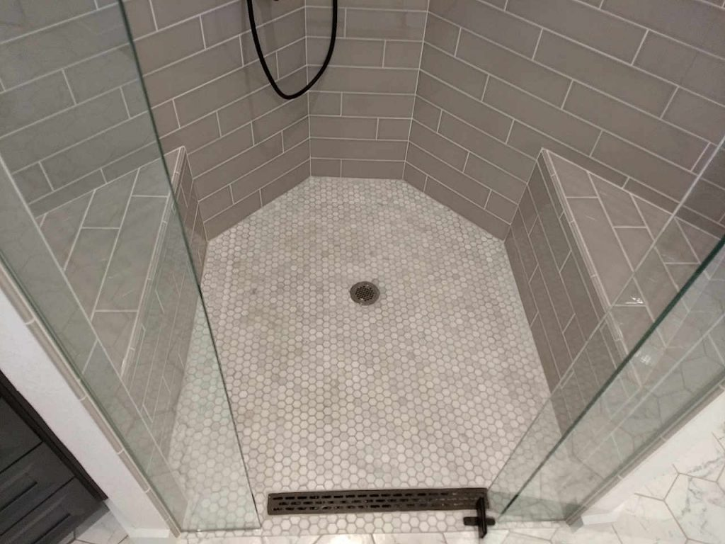 curbless shower with trough drain